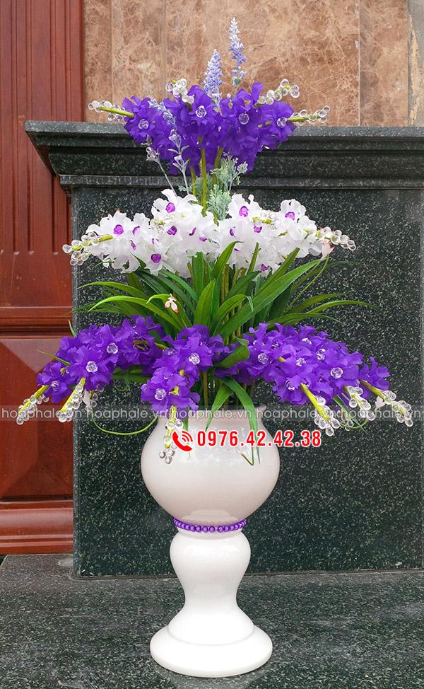 Mẫu hoa lan tím trắng 3 tầng - hoa pha lê