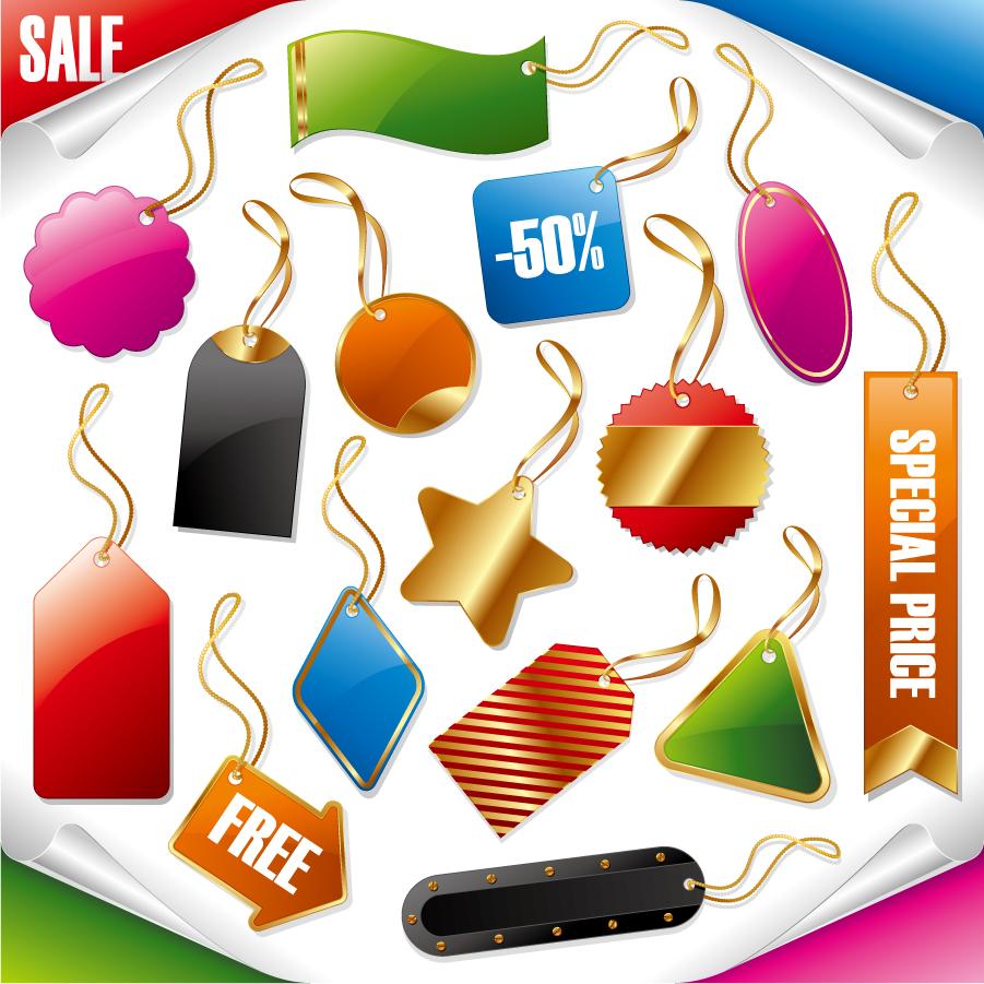 金縁が輝く安売りタグのデザイン テンプレート sale price gold tag label イラスト素材