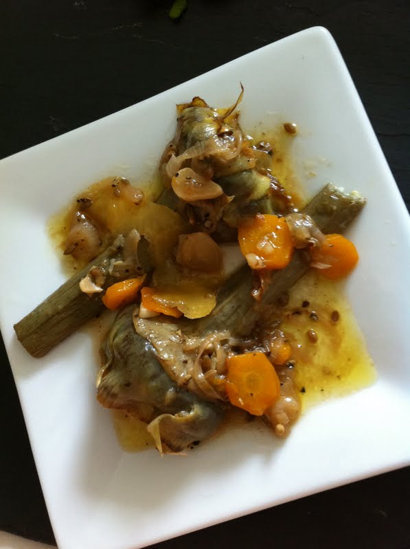 Braised Artichokes in Lemon and Olive Oil :: Plate and Pour
