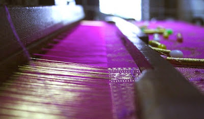 Kanchivaram sarees being woven