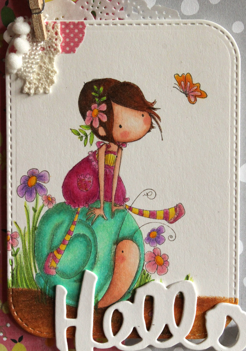 Tiny Townie Sally and Her Snail is stamped on Papertrey Inks Rustic ...
