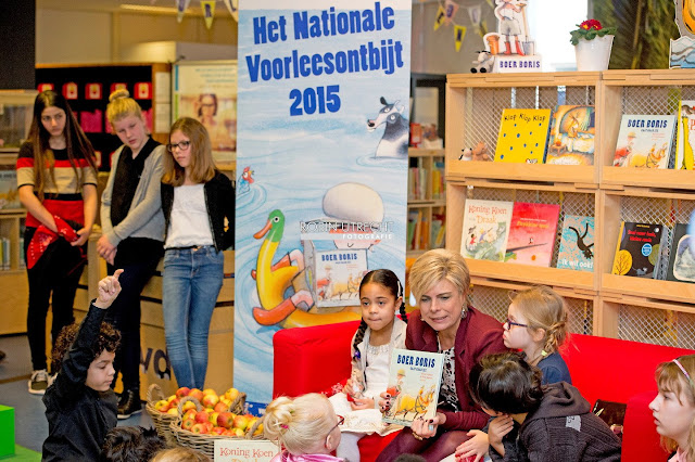 Princess Laurentien of The Netherlands at the National Breakfast Reading event at the Library in Hoorn