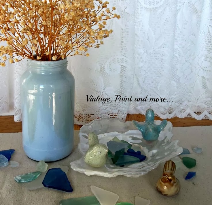 Waiting for Spring - image of birds with beach glass and painted mason jar with statis