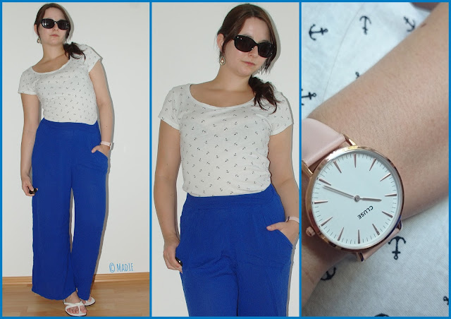 Outfit How to Style Palazzo Pants - I´m anchored: Simple T-Shirt and blue Palazzo Pants