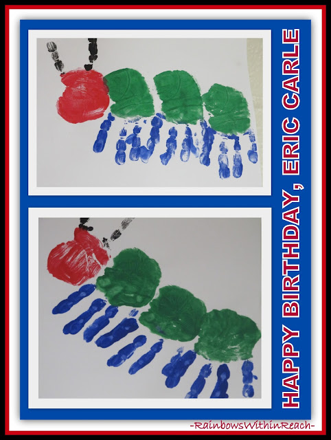 photo of: Very Hungry Caterpillar Painted Handprints via Eric Carle RoundUP at RainbowsWithinReach