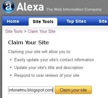 verifikasi blog di alexa,claim blog di alexa