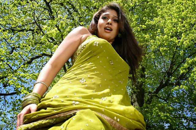 Nayantara in lovely Green Saree Spicy Pics