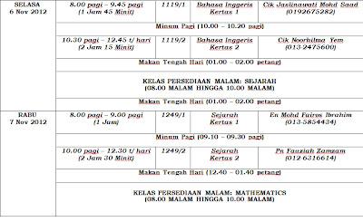 Jadual Waktu Peperiksaan SPM & Jadual Harian Semasa Peperiksaan SPM