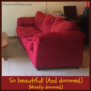 Red microsuede couch