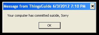 Fake error message