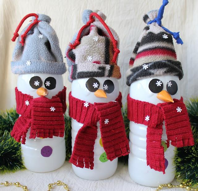 снеговик, из бутылки, поделки с детьми