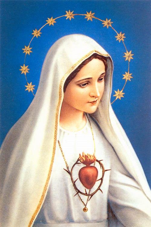 Virgen maria vestida de blanco