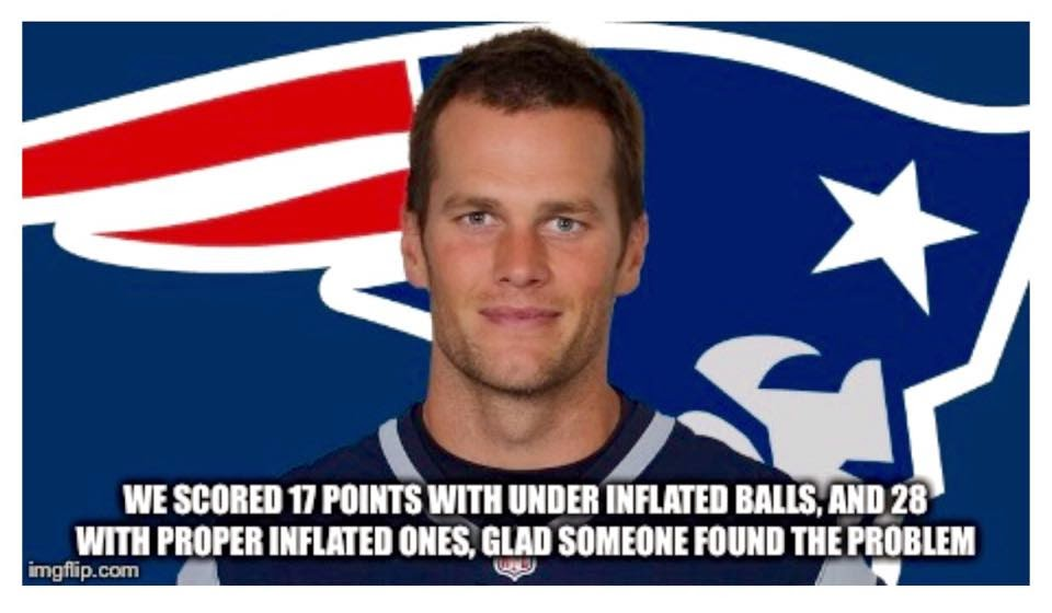 we scored 17 points with under inflated balls, and 28 with proper inflated ones, glad someone found the problem. - #tombrady #patriots #underinflatedballs #inflatedballs