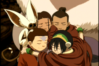 Team avatar and Momo hugging