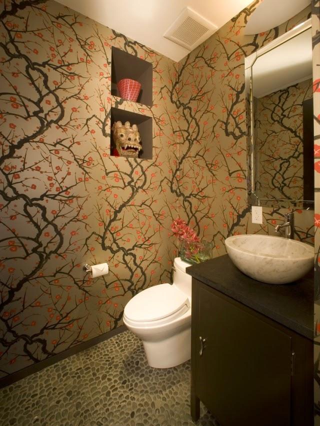 Ba os con papel pintado colores en casa - Casas decoradas con papel pintado ...
