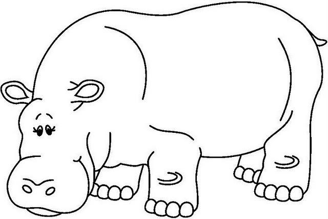 Animales para colorearHippopotamus Black And White