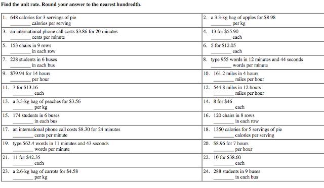 May 2012 – Unit Rate Worksheet 6th Grade