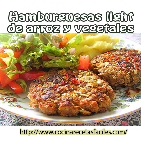 Hamburguesas light de arroz y vegetales recetas f ciles - Arroz con verduras light ...