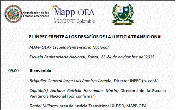 Participación en el Foro: El Inpec frente a los desafíos de la Justicia Transicional