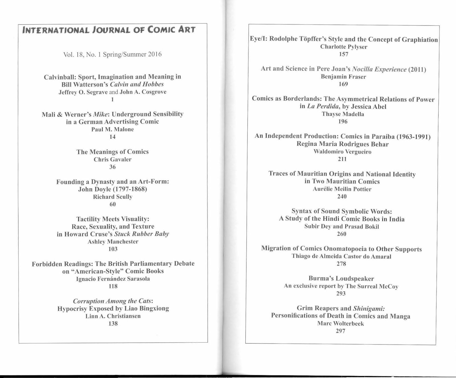 international journal of comic art blog international journal of comic art 18 1 table of contents