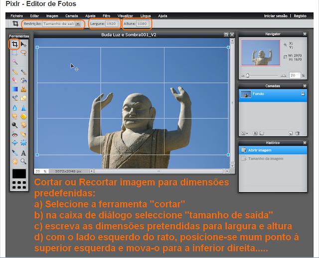 Cortar imagens para dimensões predefinidas no Pixrl - 1