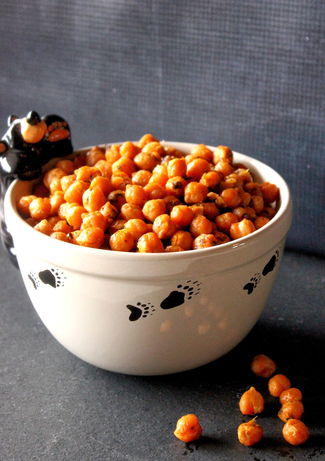 Sriracha Roasted Chickpeas Recipe via Kudos Kitchen By Renee