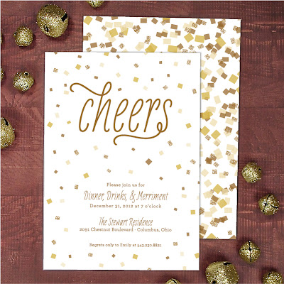 new year's party invitation, party invite, confetti invitation