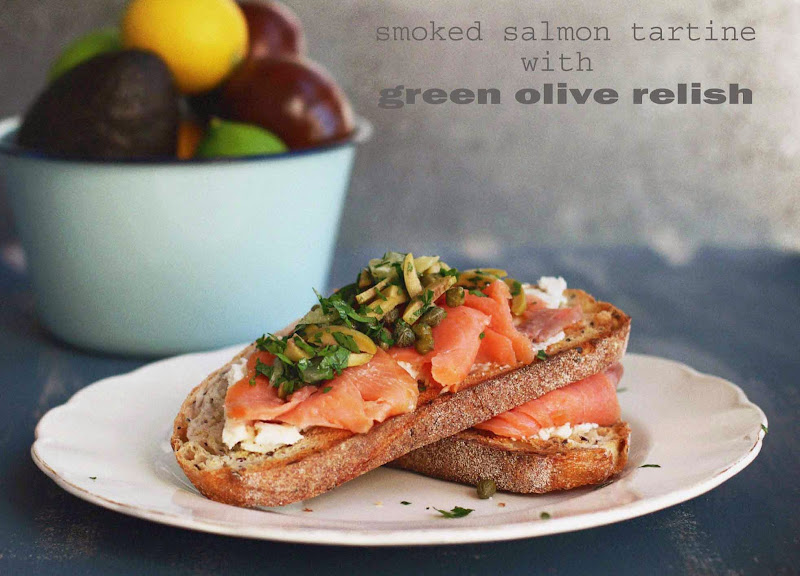 Milk and honey smoked salmon tartine with green olive relish for Honey smoked fish