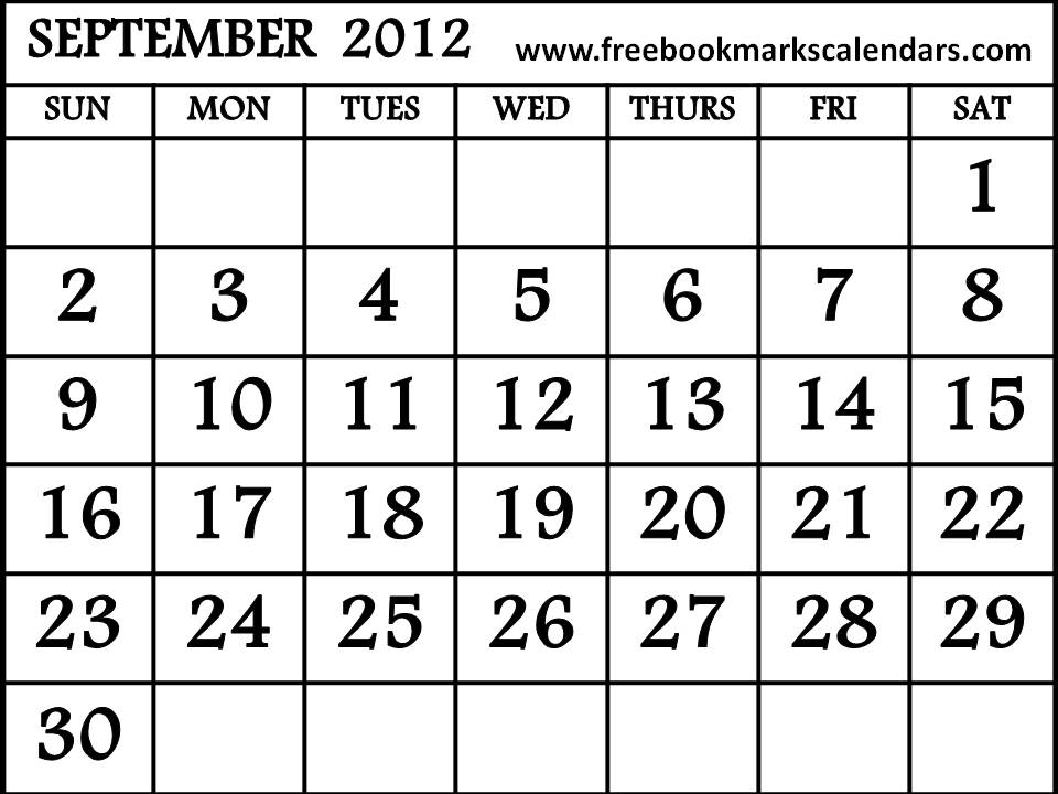 September October 2012 Calendar Printable