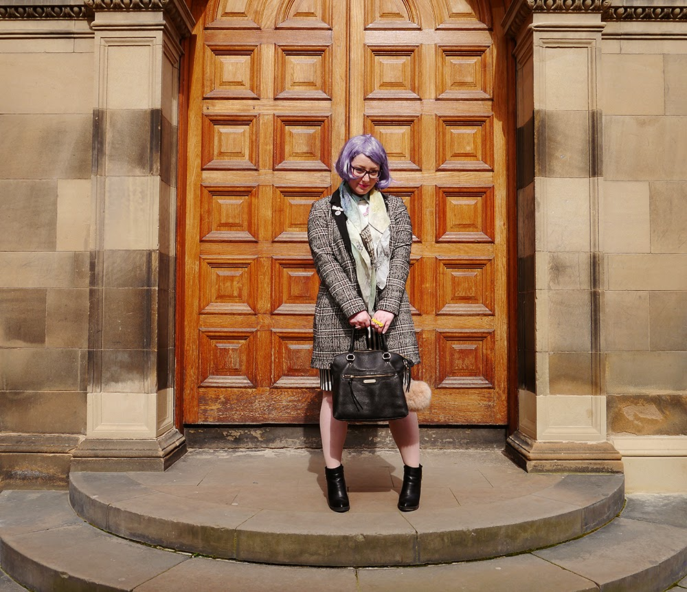 #scotstreetstyle, #EdFashion, Edinburgh, street style, monochrome, stripes, Breton, lilac hair, pom pom