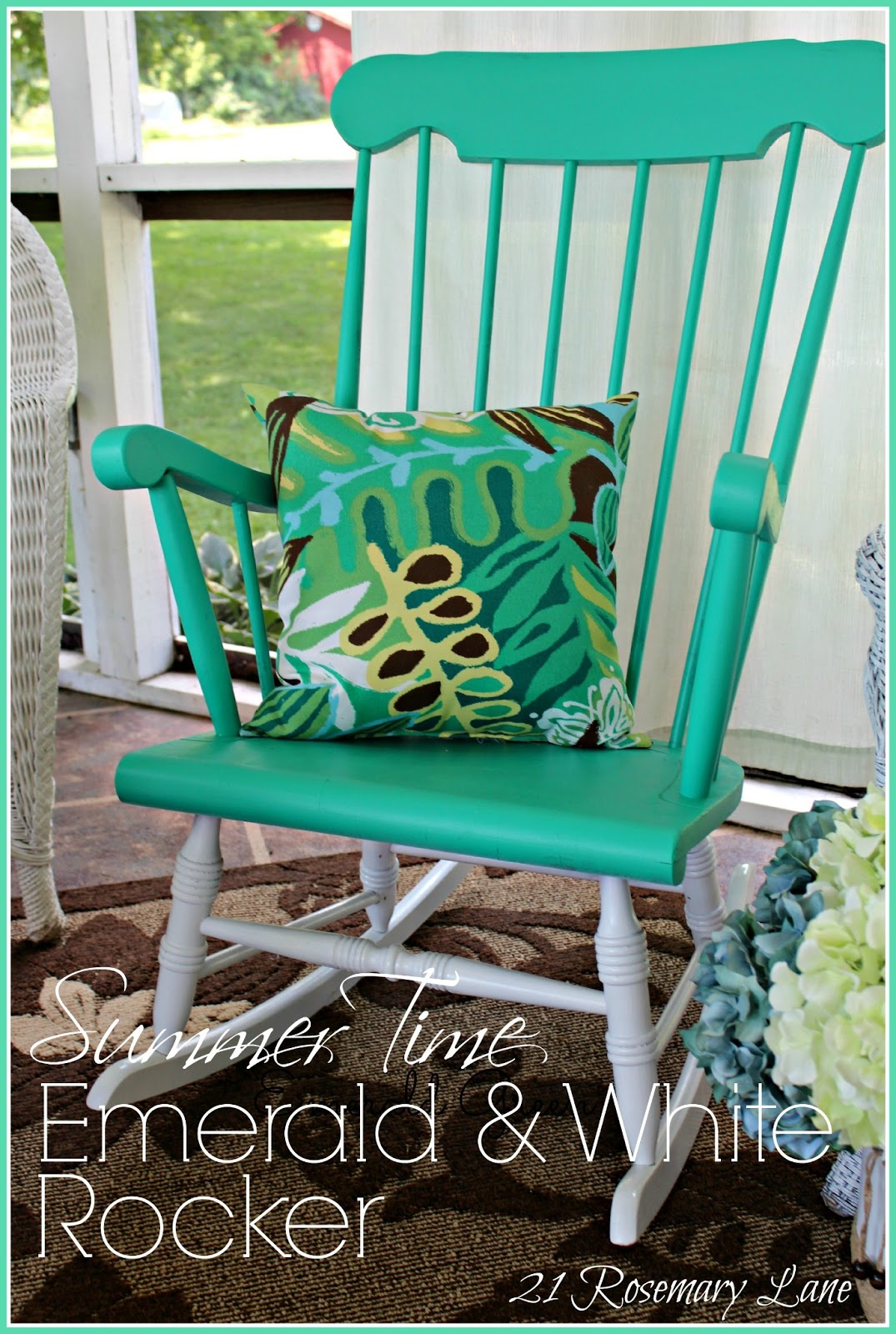 21 Rosemary Lane Summer Time Emerald And White Rocker