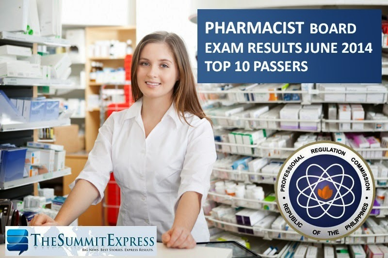 Top 10 Passers June 2014 Pharmacist licensure exam released