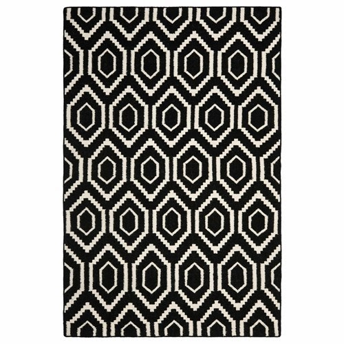Black & Ivory Hexagon Wool Rug