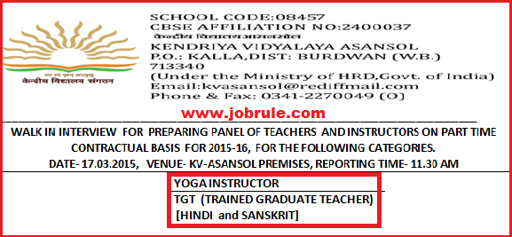 Asansol Kendriya Vidyalaya Latest Part Time Contract Basis Job Advertisement March 2015