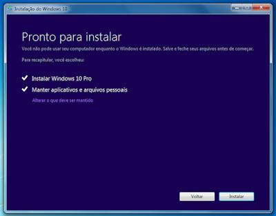 Pronto para instalar o Microsoft Windows 10.