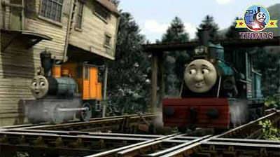 Logging loco Bash Dash and Ferdinand the tank engine surprised to see Thomas and friends the diesels
