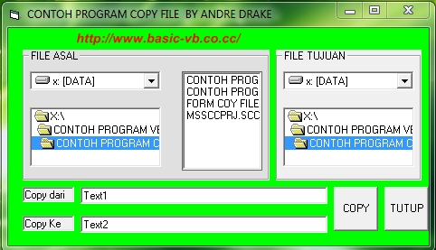 Contoh program copy file menggunakan Visual basic