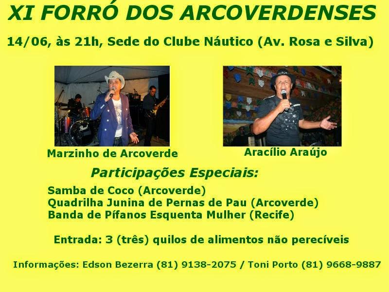 XI FORRÓ DOS ARCOVERDENSES EM RECIFE SERÁ NO DIA 14/06