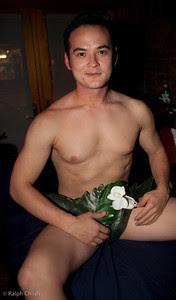 naked male sushi model