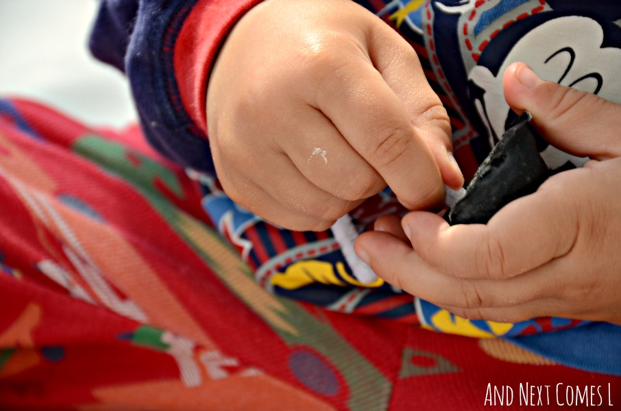 Turning baked cotton balls into music notes & close up of fine motor skills from And Next Comes L
