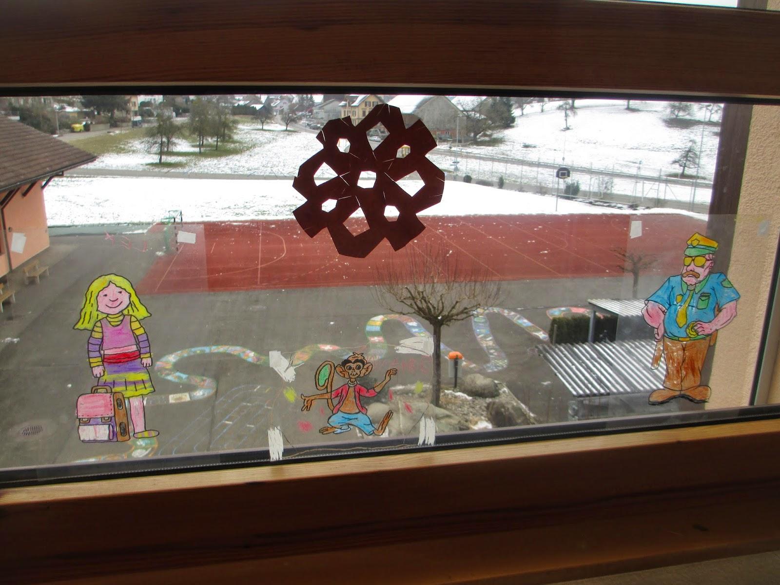 Fensterdeko Pippi Langstrumpf im Kindergarten
