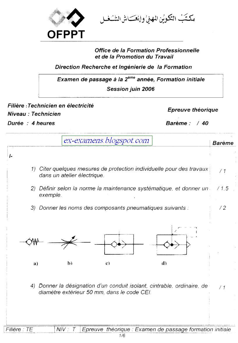 Examen de passage Théorique TEMI 2006 1