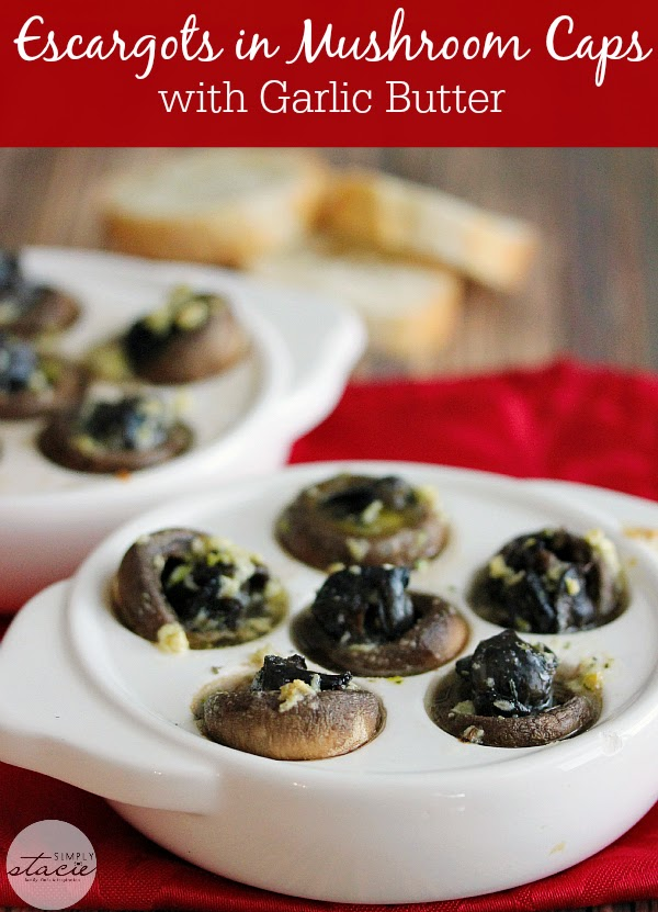 Escargots in Mushroom Caps with Garlic Butter  from Simply Stacie
