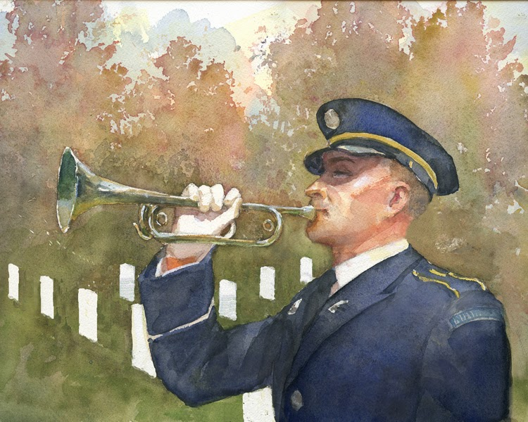Illustration by Robert Crawford. Soldier blowing a bugle at Arlington National Cemetery