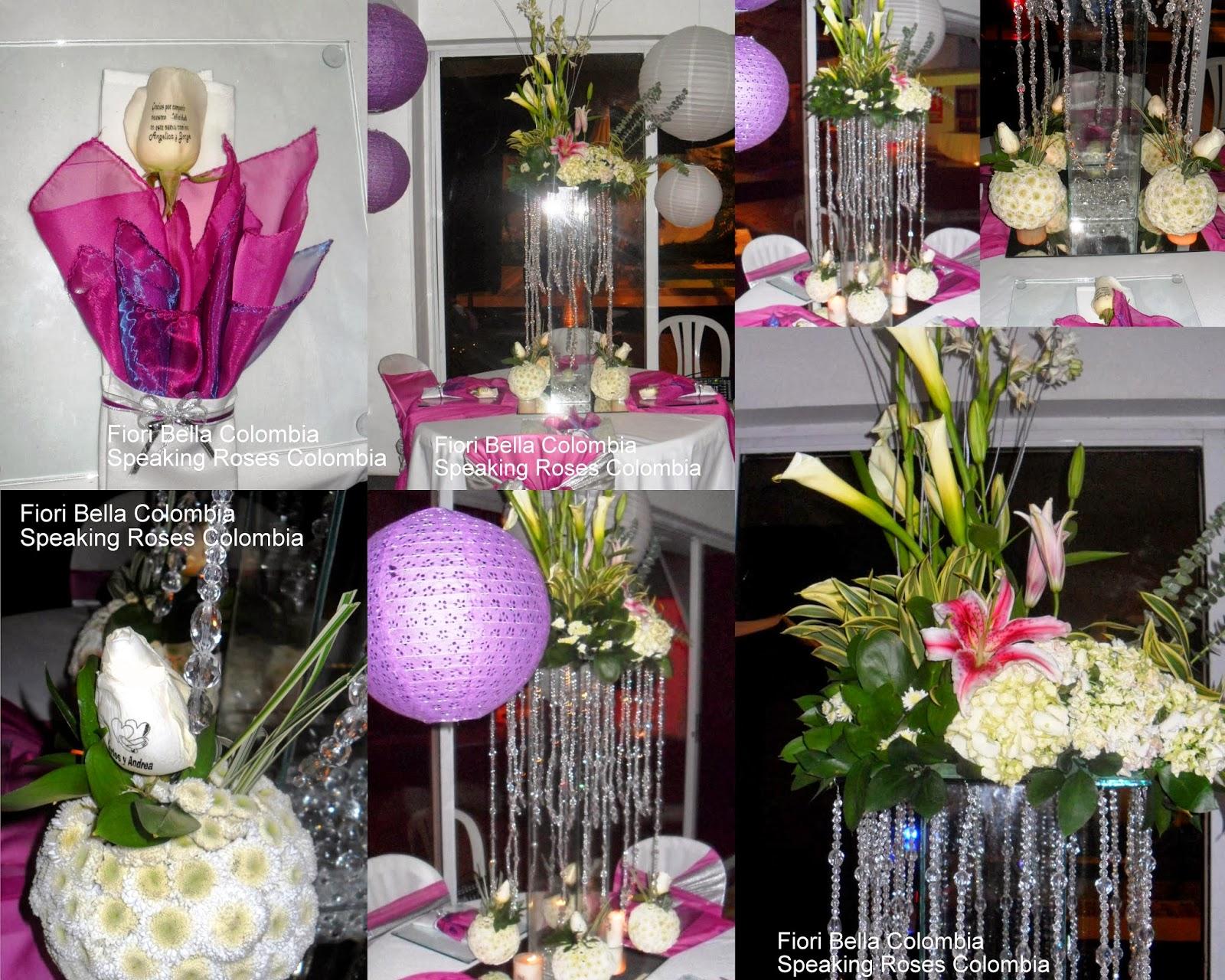 Centro de mesa para boda color fucsia fiori bella colombia for Decoracion cordoba