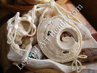 Glass Pearl Seed Beaded Conch