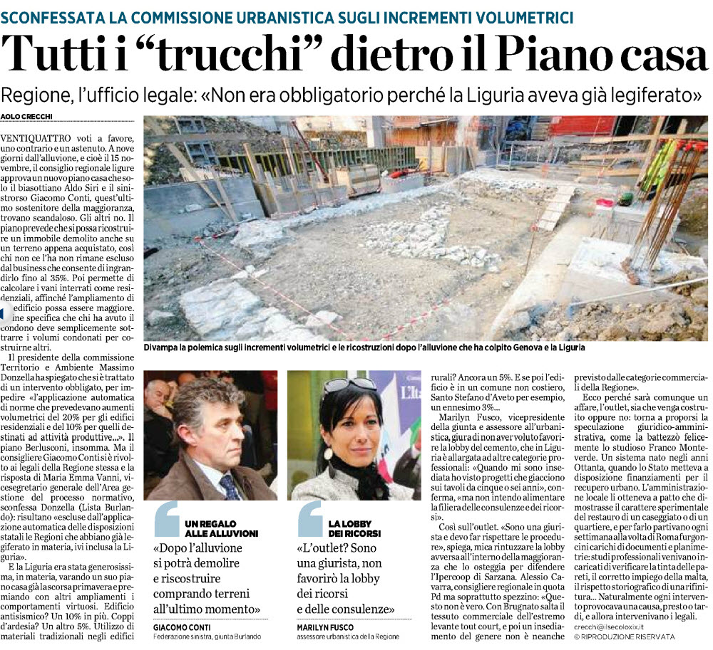Alassiofutura regione liguria sconfessata la for I migliori progettisti del piano casa