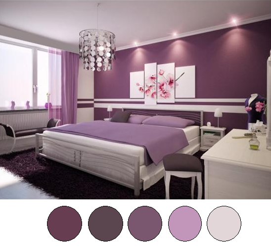purple color of bedroom