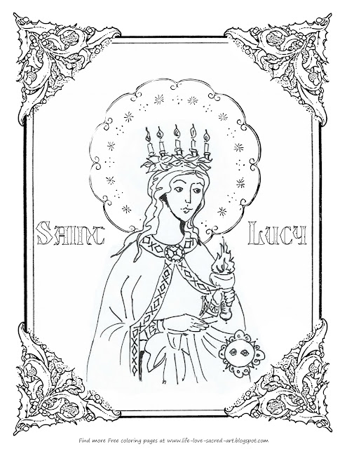 Life love sacred art free st lucy coloring page for I love lucy coloring pages
