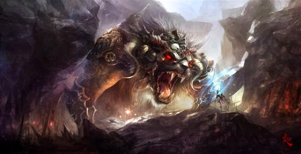 guicaimumu chinese artist illustrations fantasy card games Giant beast fight